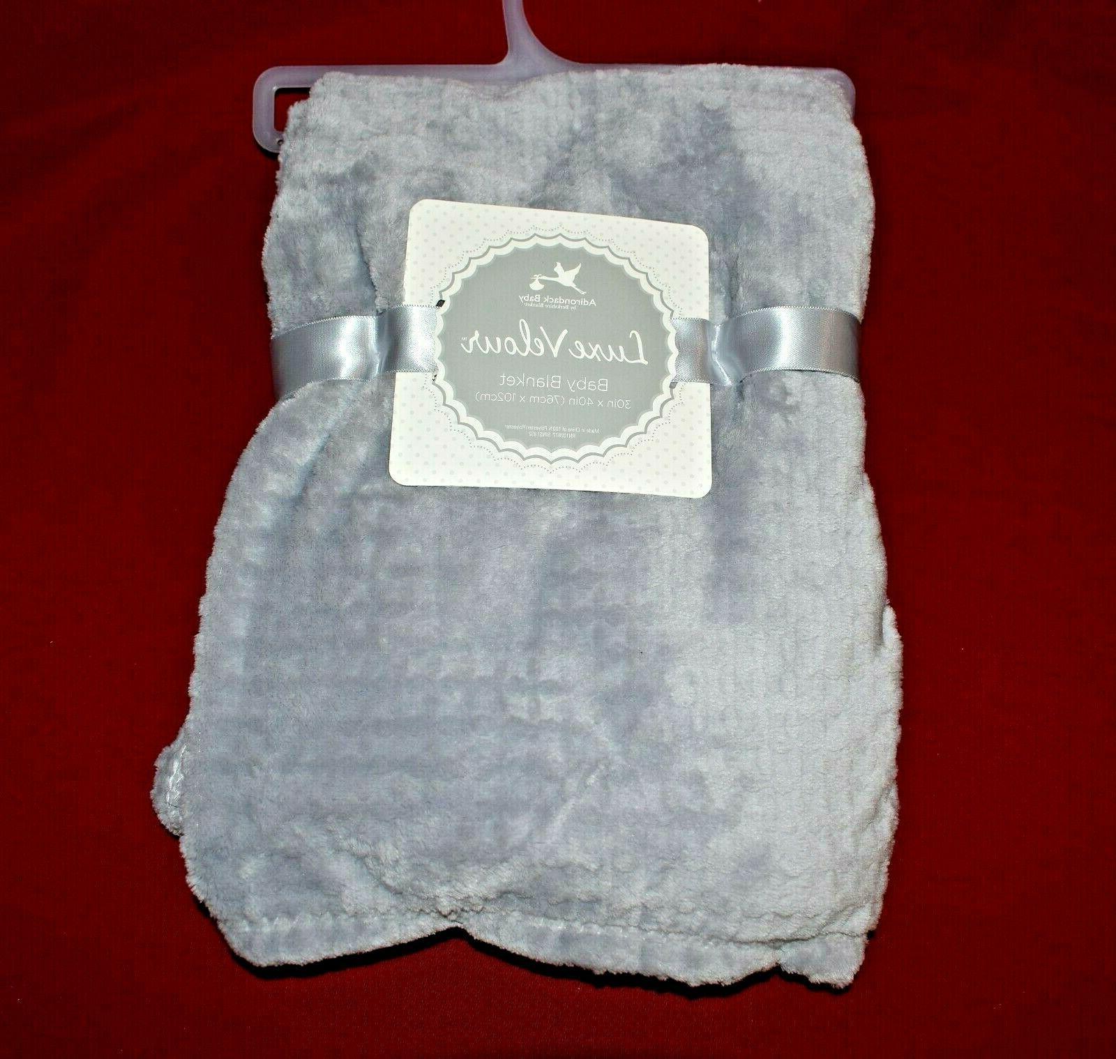 "Adirondack Velour 30"" x 40"" Infant Blanket Gray"