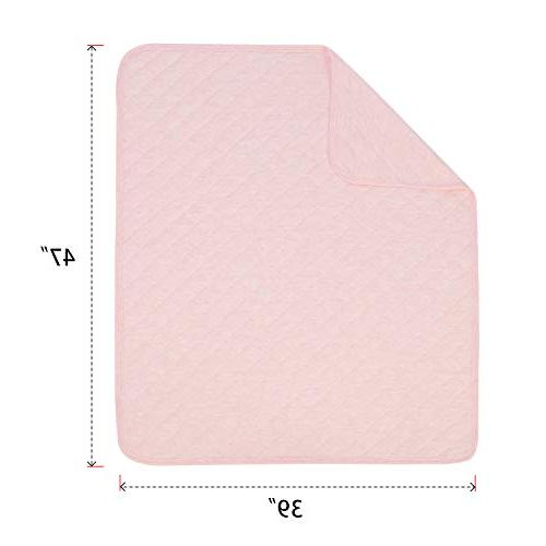 TILLYOU Quilted Baby Lightweight Bed Blanket for Girls 39x47 Breathable Jersey Super & Warm Crib for All Pink