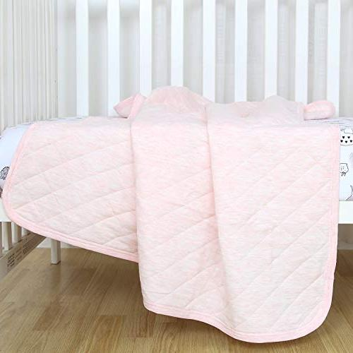 Baby Blanket Lightweight Toddler Bed Blanket Girls 39x47 Large, Breathable Jersey Cotton, Super & for All Seasons, Pink