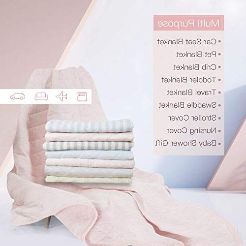 TILLYOU Quilted Baby Blanket Lightweight Bed Blanket for 39x47 Jersey Cotton, Super & Warm for All Heather Pink