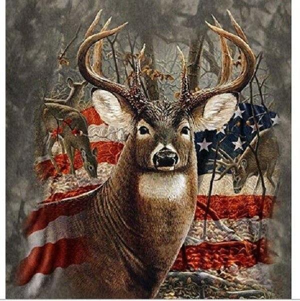 American Deer Flag Queen Blanket Buck Heavy Weighted Bedding