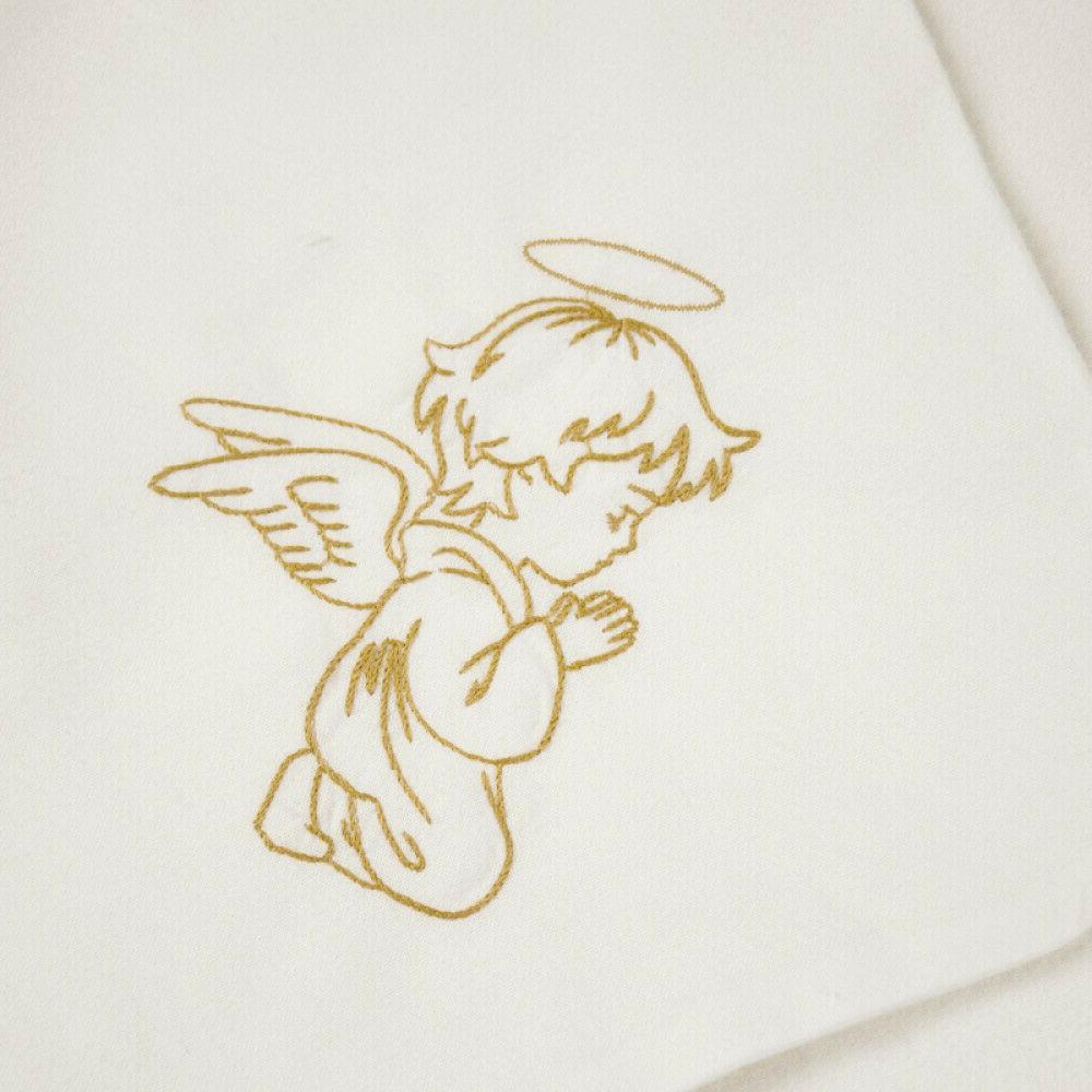 "Angel Embroidery Linen Baptism 37x37"" Wrap Blanket"