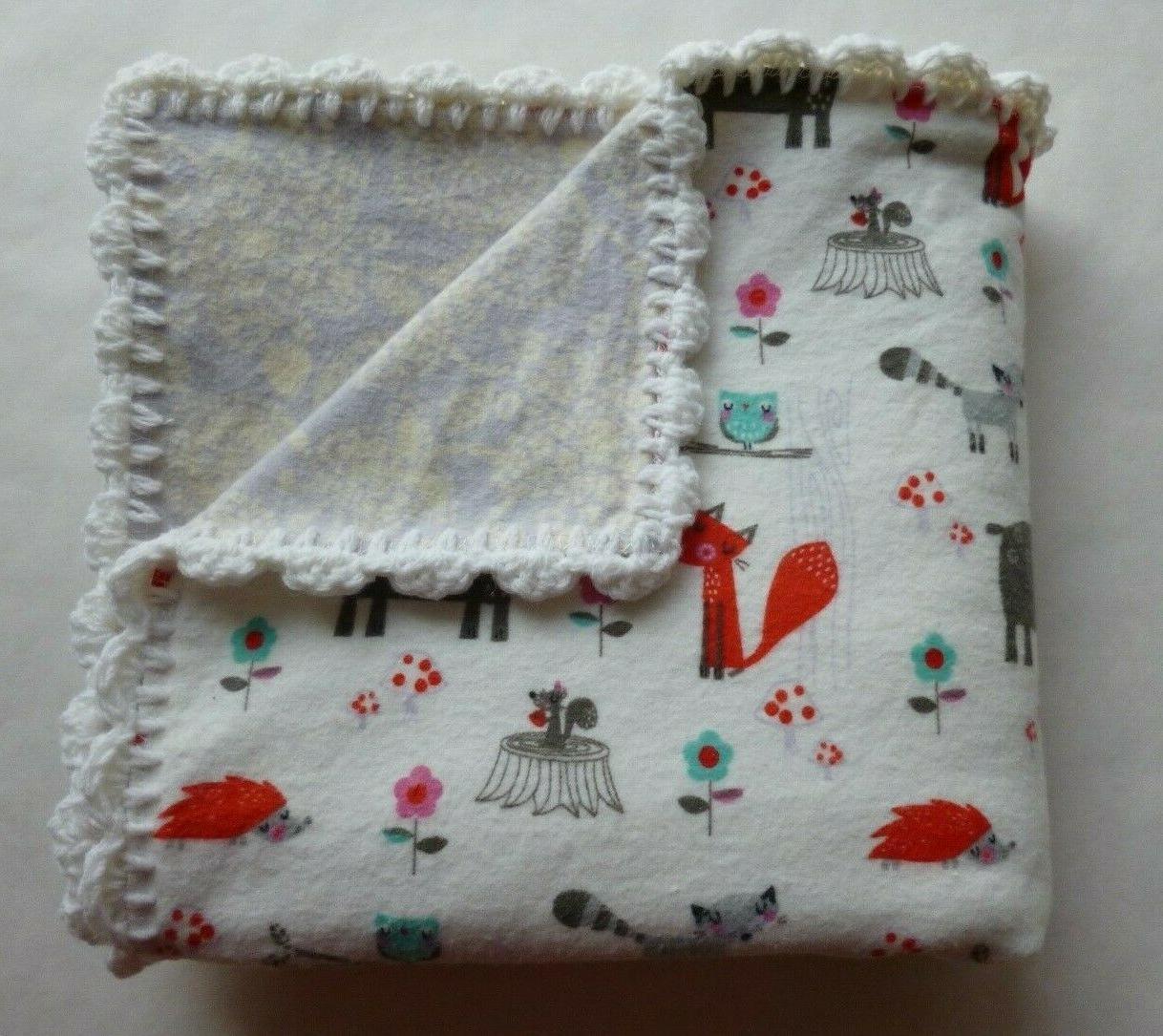 animals unisex baby receiving blanket hand crochet