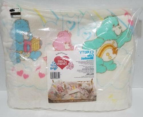 Baby Acrylic Blanket Care Bears 1983 Crib vintage SEALED 40x