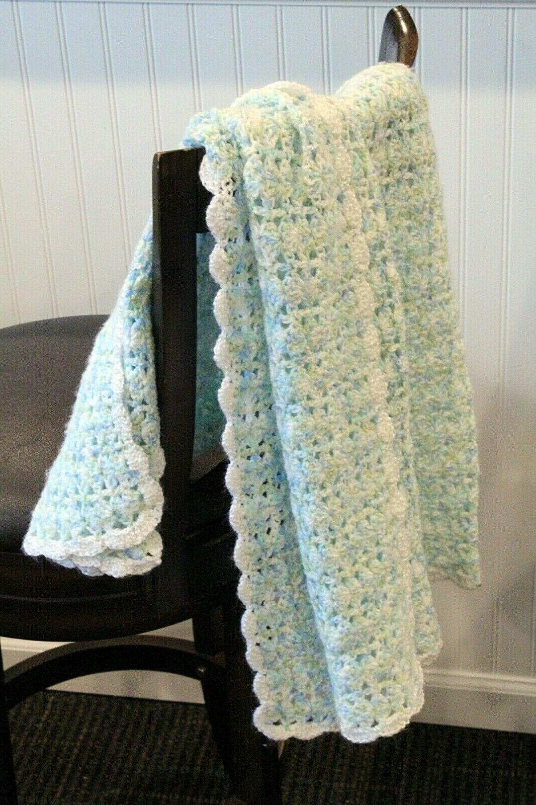 baby afghan blanket throw crochet blue green