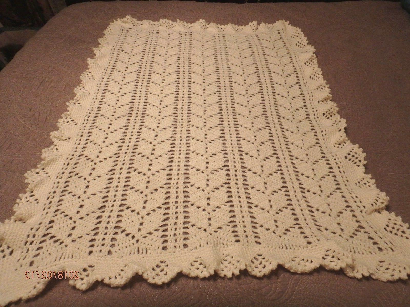 baby afghan crib blanket lace leaf design