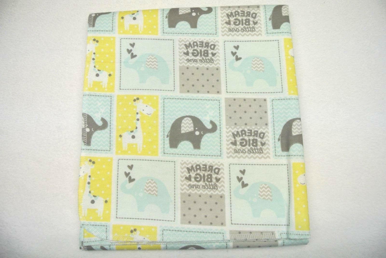 Baby Blanket Set Elephants Big Little Green