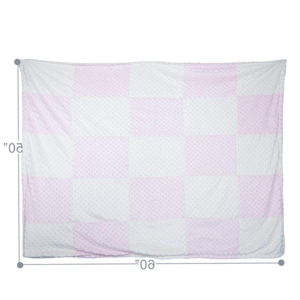 """Boritar Quilt with Minky Dotted Super Soft Pink 30""""x40"""""""
