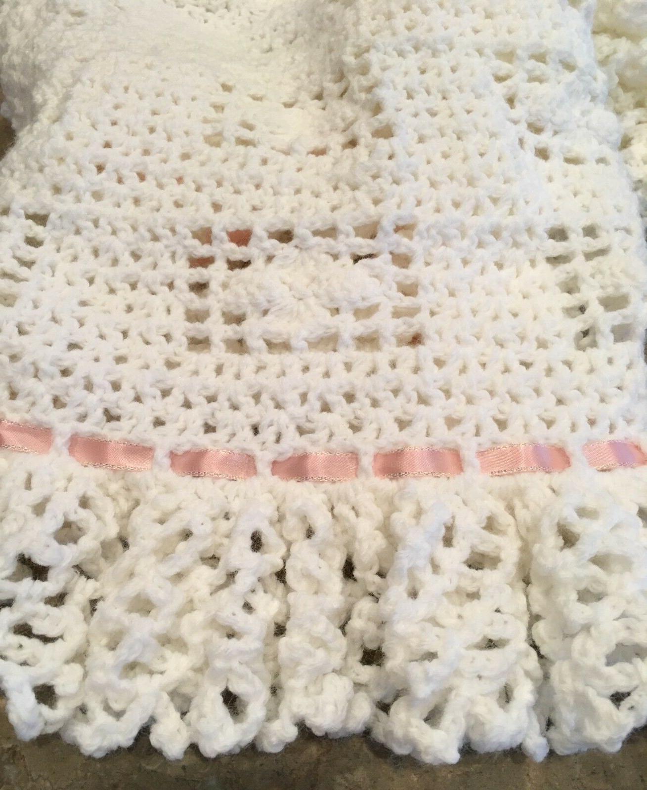 Baby Crochet Afghan Baptism Christening White CHOOSE COLOR