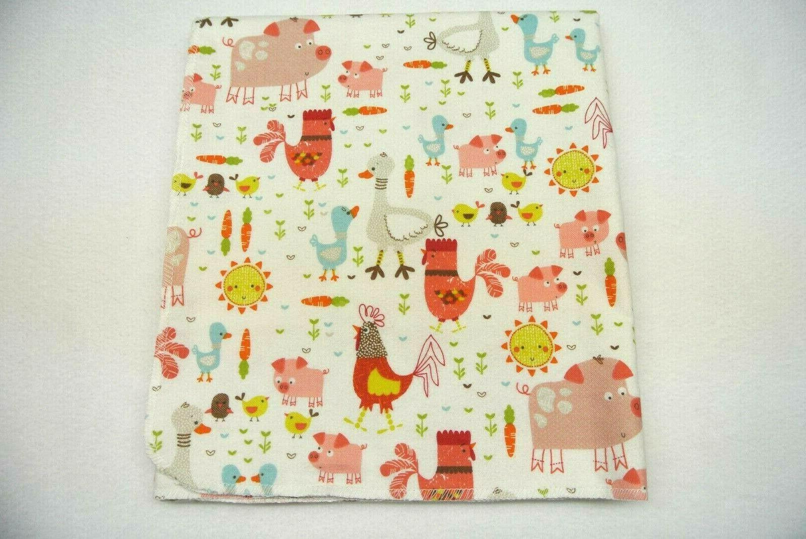 baby blanket farm animals roosters pigs ducks