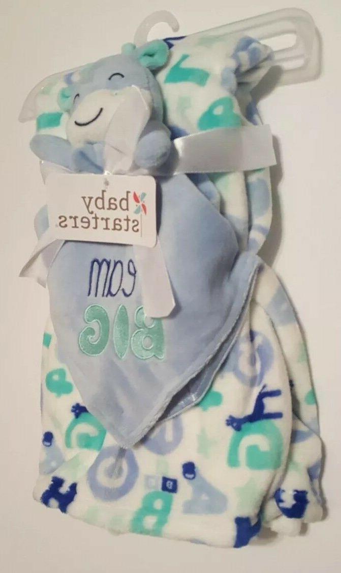 Baby Blanket Blue Starters Letters Plush