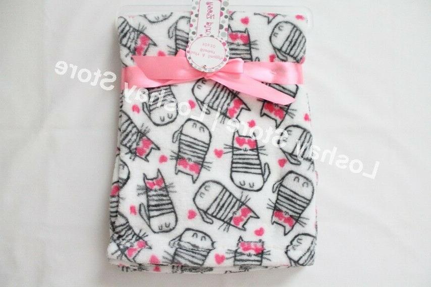 Baby Blanket Girl 30 X 30 in CATS Kittens HEARTS Soft Snuggl