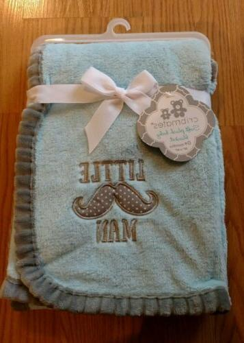 baby blanket little man mustache infant blue