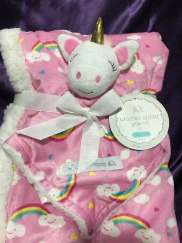 BABY Blanket Infant Pink Unicorn N Rainbows Soft