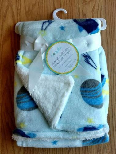 baby blanket sherpa outer space rocket ship