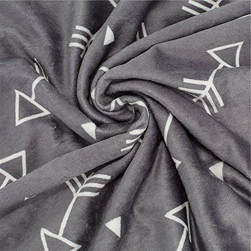 Boritar Super Soft Minky Double Layer Dotted Little Grey Arrows Receiving Blankets
