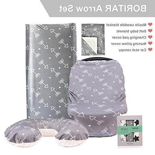 Boritar Blanket Soft Minky Double Layer Dotted Little Grey Arrows Printed Receiving Blankets