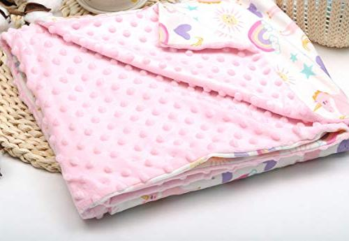Baby Minky with Unicorn Swaddle Blanket for and Toddlers, Plush Double Fleece for Girls