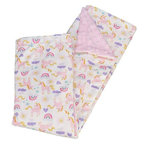 """Baby Super Minky Unicorn Printed 32""""x43"""" Swaddle Blanket Toddlers, Double Girls"""