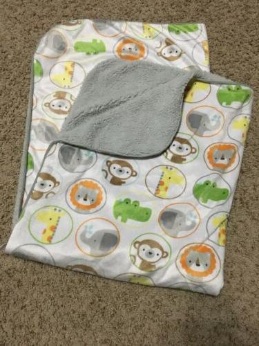 baby blanket white gray sherpa jungle zoo