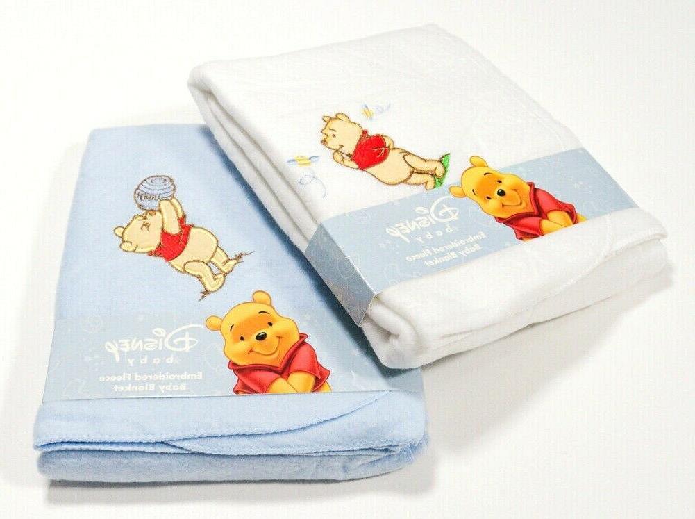 Disney BABY BLANKET Winnie The Pooh Fleece Blanket Pink Blue