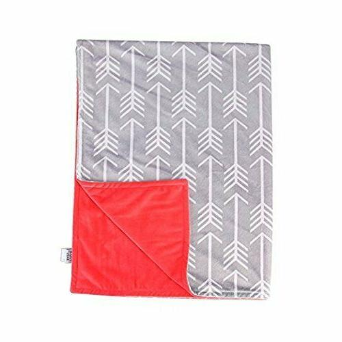 Towin Baby Arrow Minky Double Layer Receiving Blanket, Coral