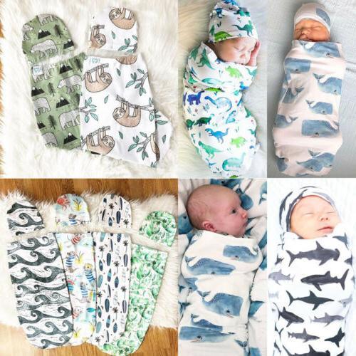 Baby Girl Swaddle Muslin Toddler Sleeping + Hat US