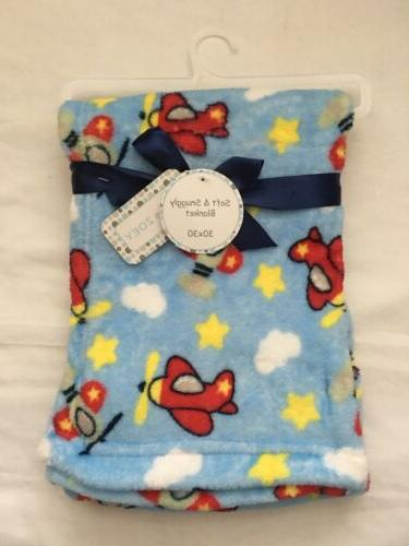 baby boys plush airplane blanket shower gift
