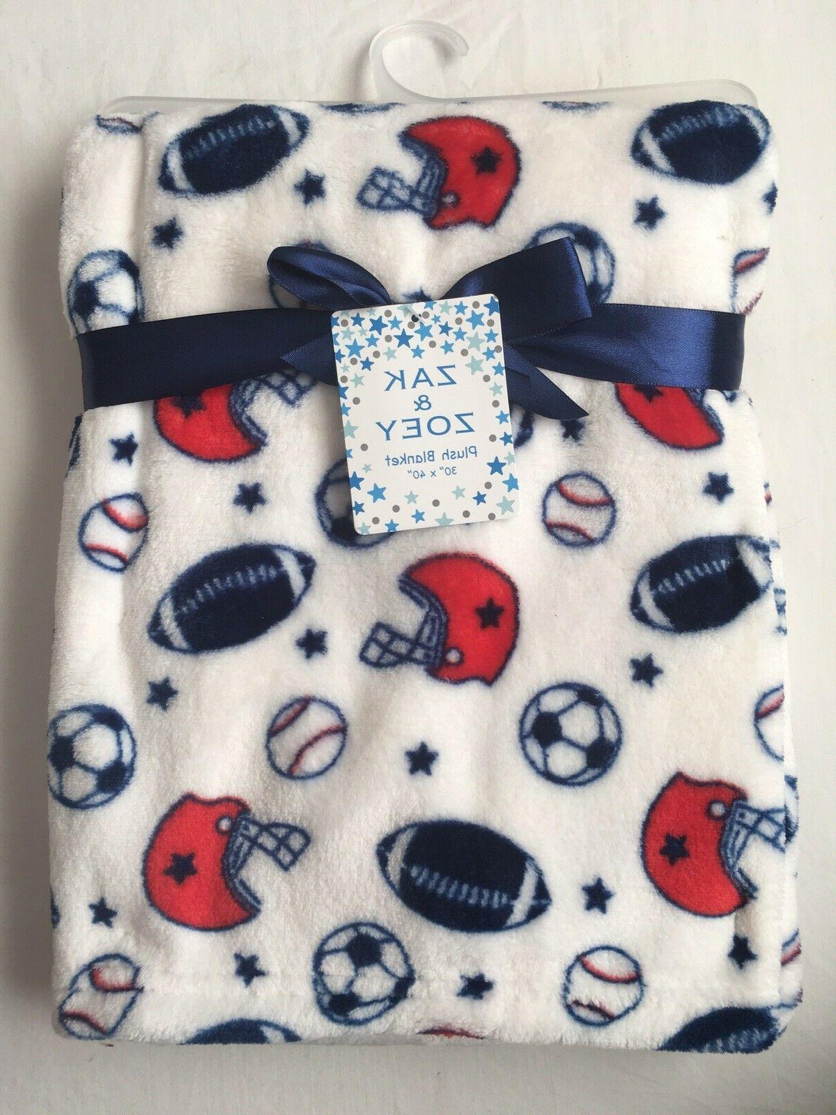 Baby Boys Plush Blanket Shower Gift, 30x40 Sports, Soft Base