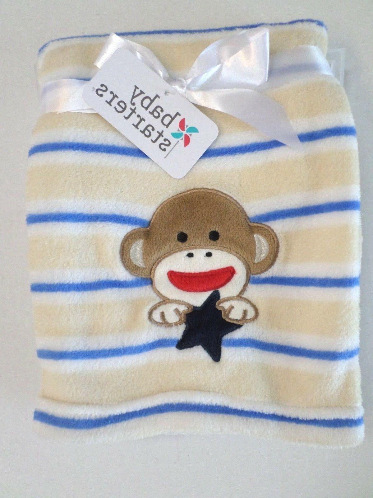 Baby Starters Baby Boys Sock Monkey/Striped Blanket White/Ta