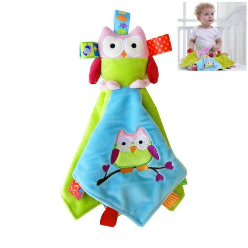baby colorful tags security blanket owl stuffed
