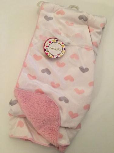 baby girl heart print blue pink ivory
