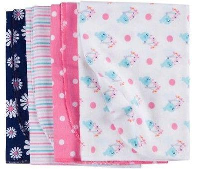 GERBER BABY GIRL'S 4-Pack Flannel Receiving Blankets  - DAIS