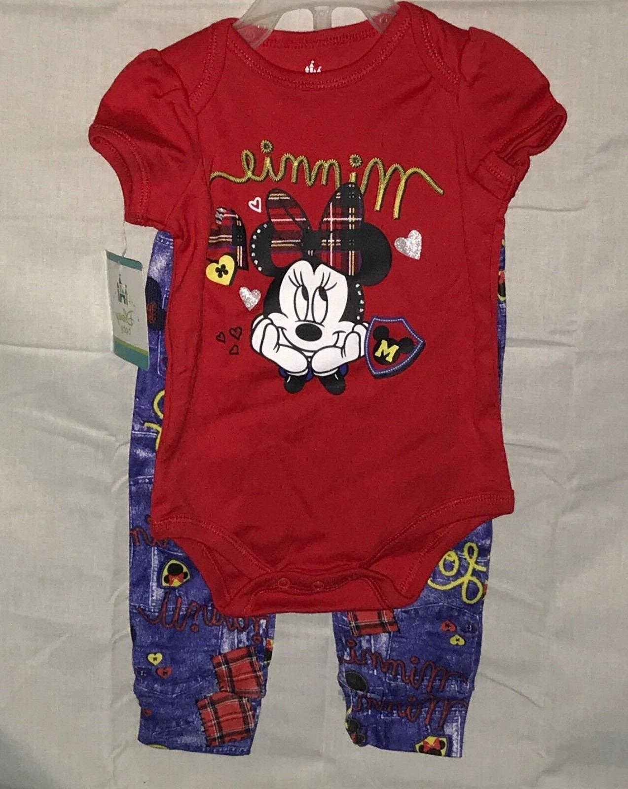 baby girls 2pc minnie mouse outfit set