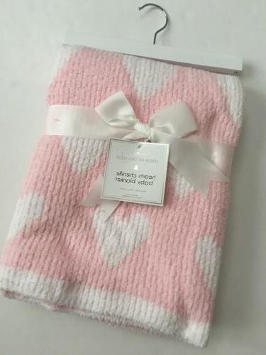 Manhattan Kids Baby Girls Pink White Hearts Chenille Blanket