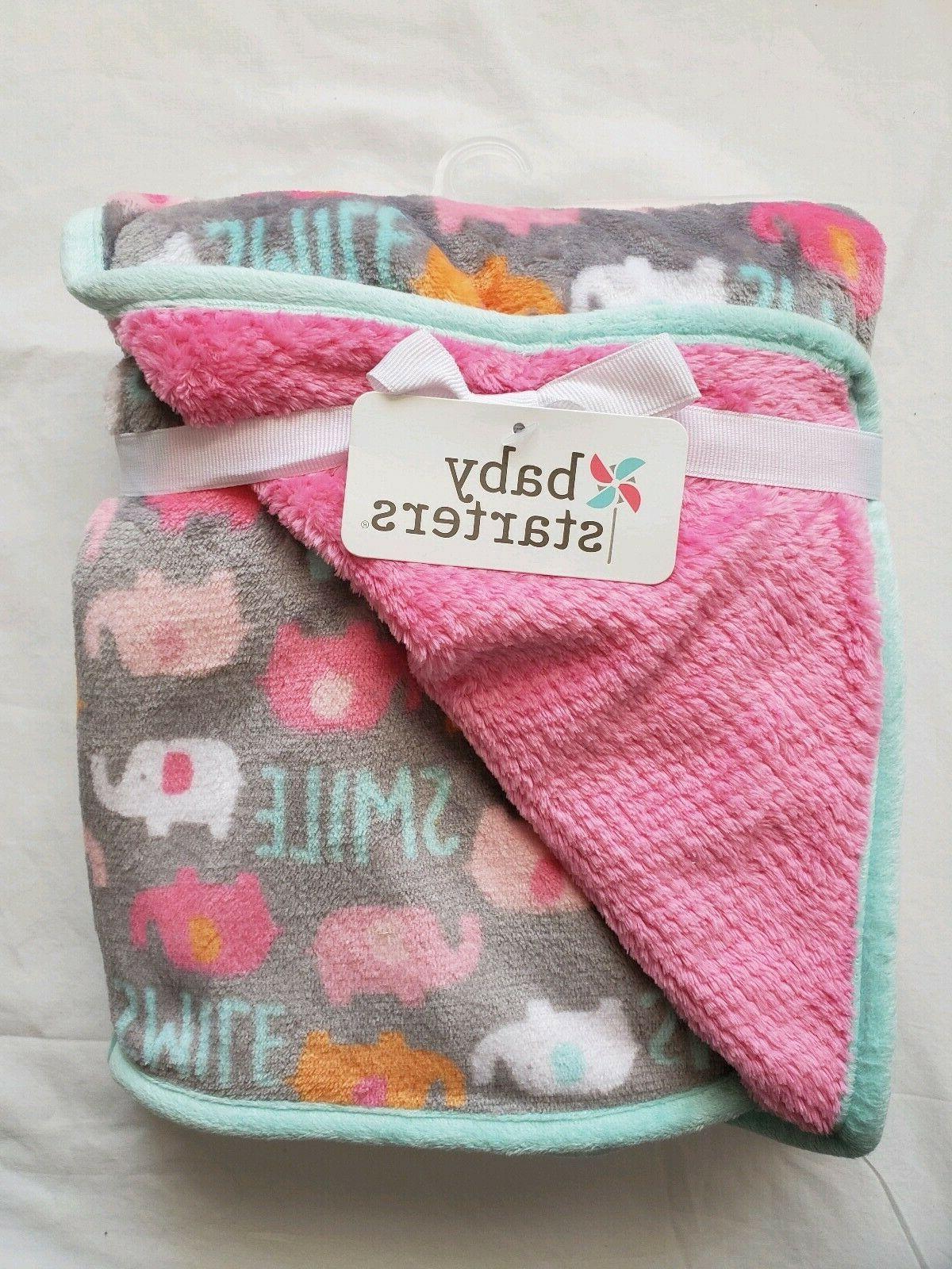 Baby Girls Plush Blanket, Shower Gift Soft Infant Blankie Pi