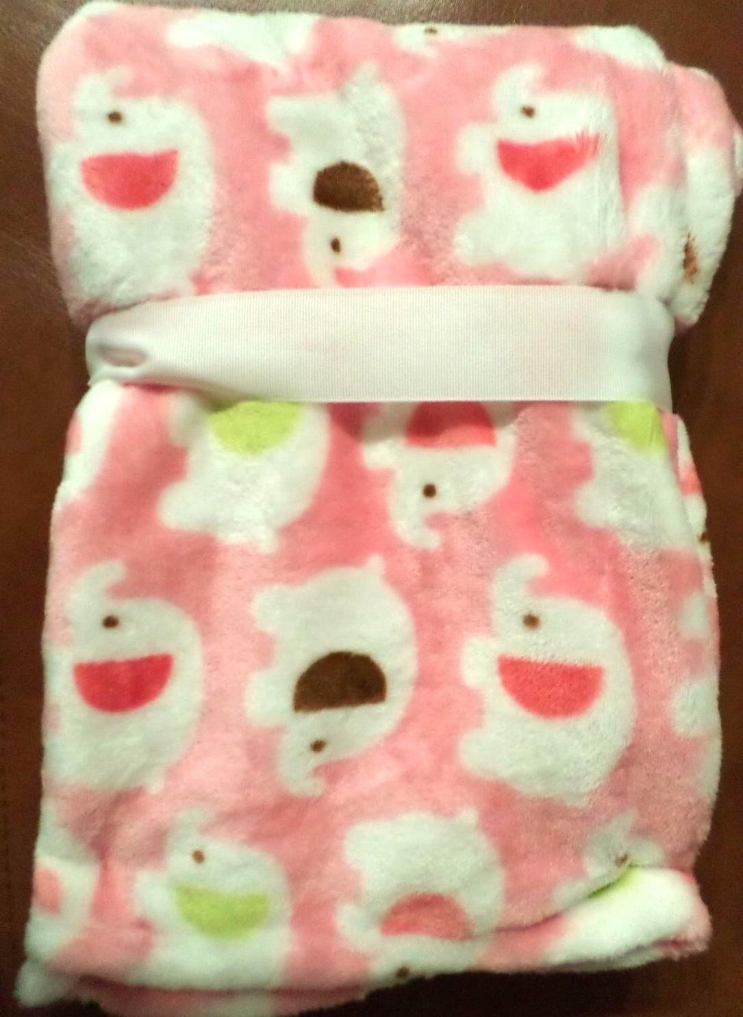 Lollypop Velvet Elephant Print Blanket Pink/Multi Poly