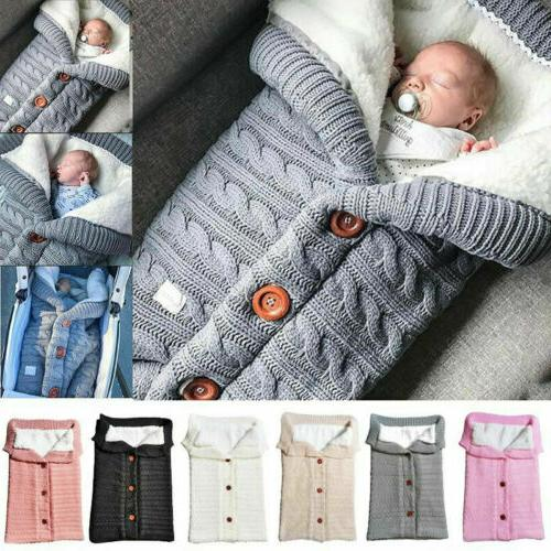 baby hooded swaddle knit wrap blanket pram