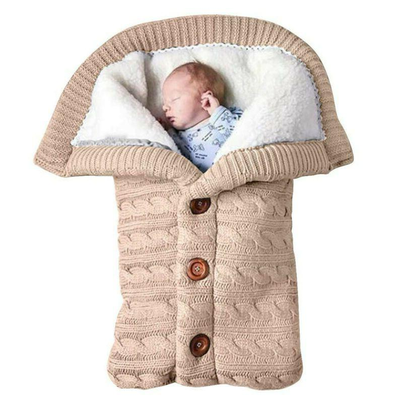 Baby Hooded Swaddle Wrap Warm Blanket Pushchair Stroller