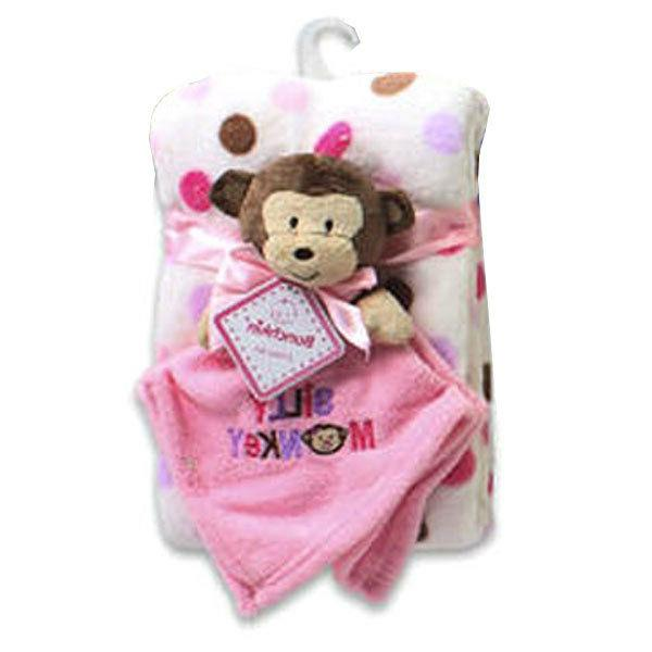 "2pc Baby Infant Lovey Security Blanket Pink ""Silly Monkey"" P"