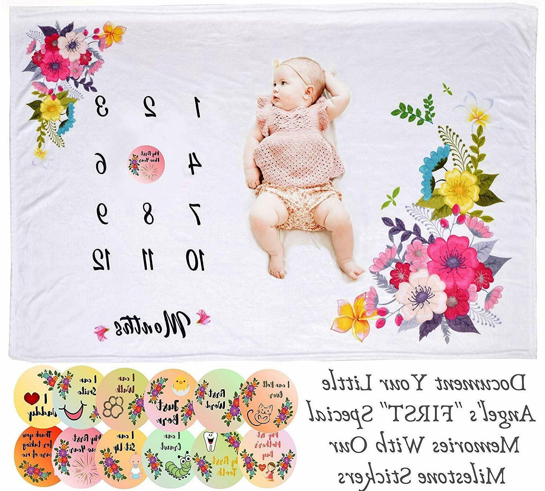 """Baby Milestone Blanket 40""""x50"""" Monthly"""