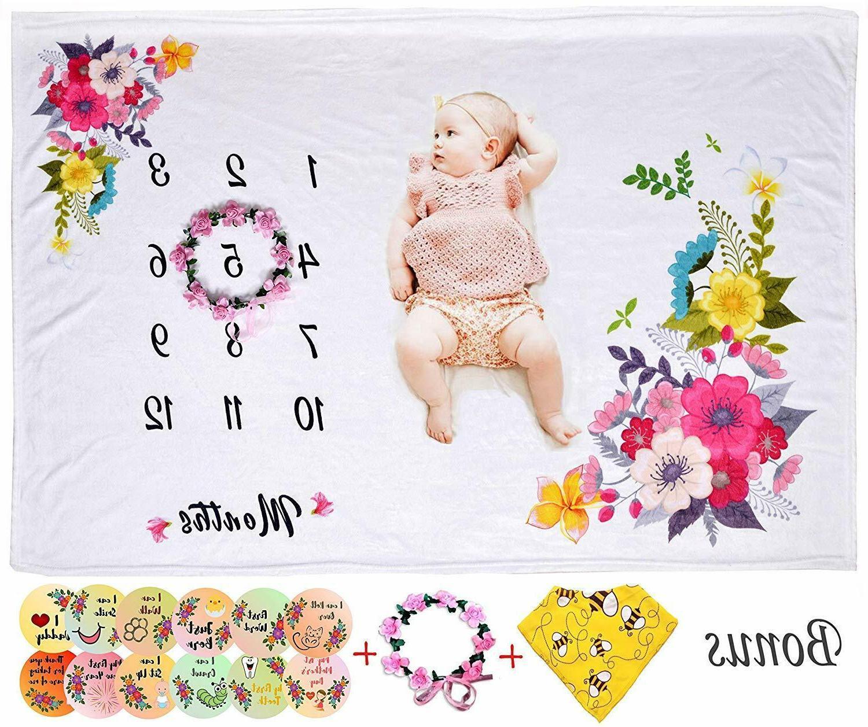 baby milestone blanket girls 40 x50 monthly