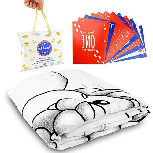 Baby Month – Blanket – Non-Toxic – Blanket 12 Milestone Cards Hypoallergenic