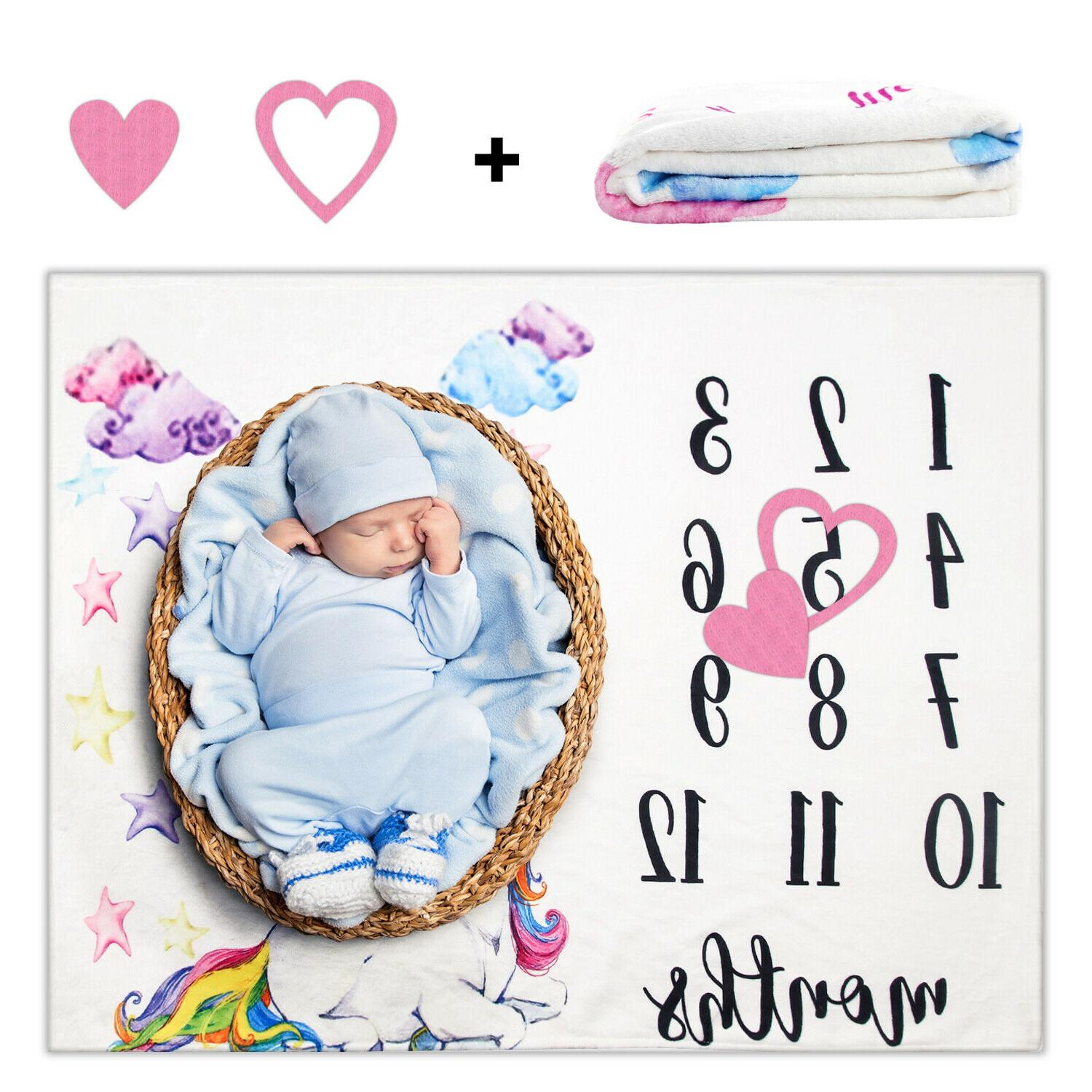 Newborn Baby Girls Boy Blanket Milestone Photography Photo P