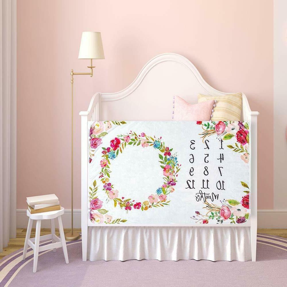 Baby Milestone Girl, Floral Plush Fleece, Soft