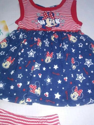 DISNEY BABY NWT MINNIE MOUSE Baby Months July 4th 2 Piece Dress