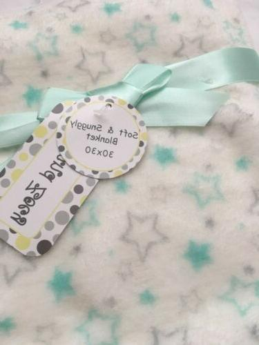 Baby Plush Blanket Shower Gift Soft Stars, 30x30