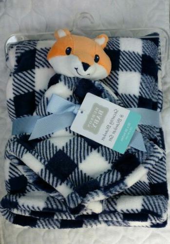 baby security blanket set fox plaid checker