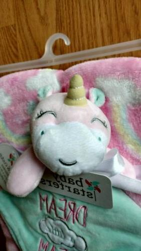 BABY Blanket Unicorns Rainbows Infant Pink