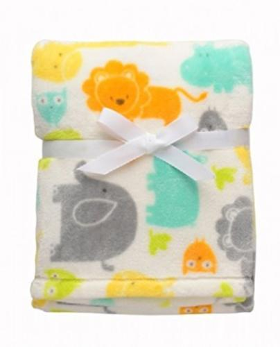 Baby Starters White Safari Blanket with Many Animals 30X 40